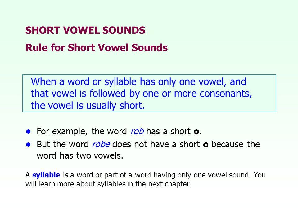 Rule for Short Vowel Sounds