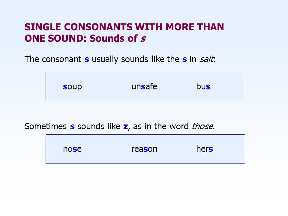 SINGLE CONSONANTS WITH MORE THAN ONE SOUND: Sounds of s