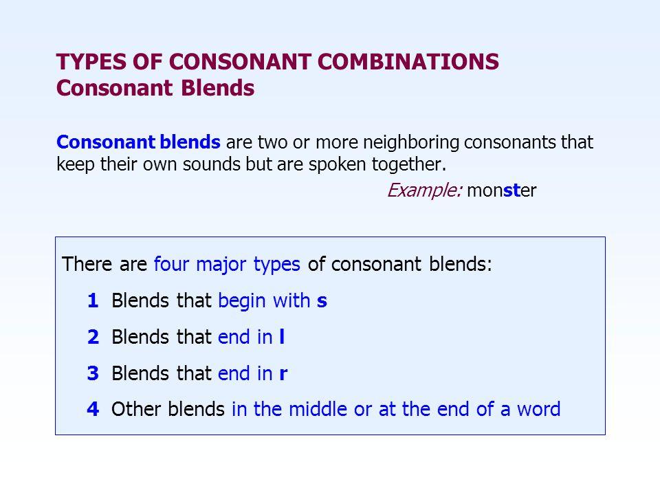TYPES OF CONSONANT COMBINATIONS Consonant Blends