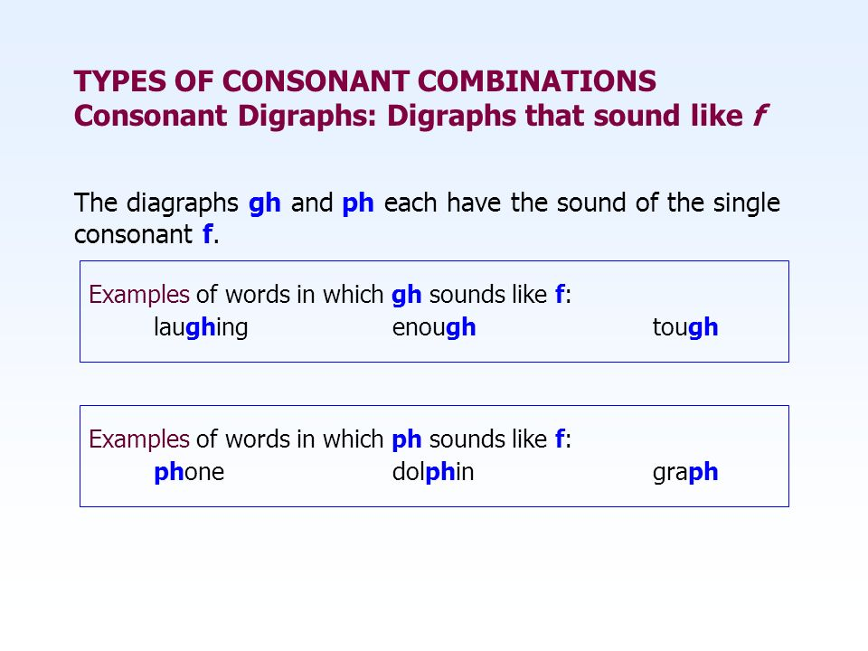 TYPES OF CONSONANT COMBINATIONS Consonant Digraphs: Digraphs that sound like f