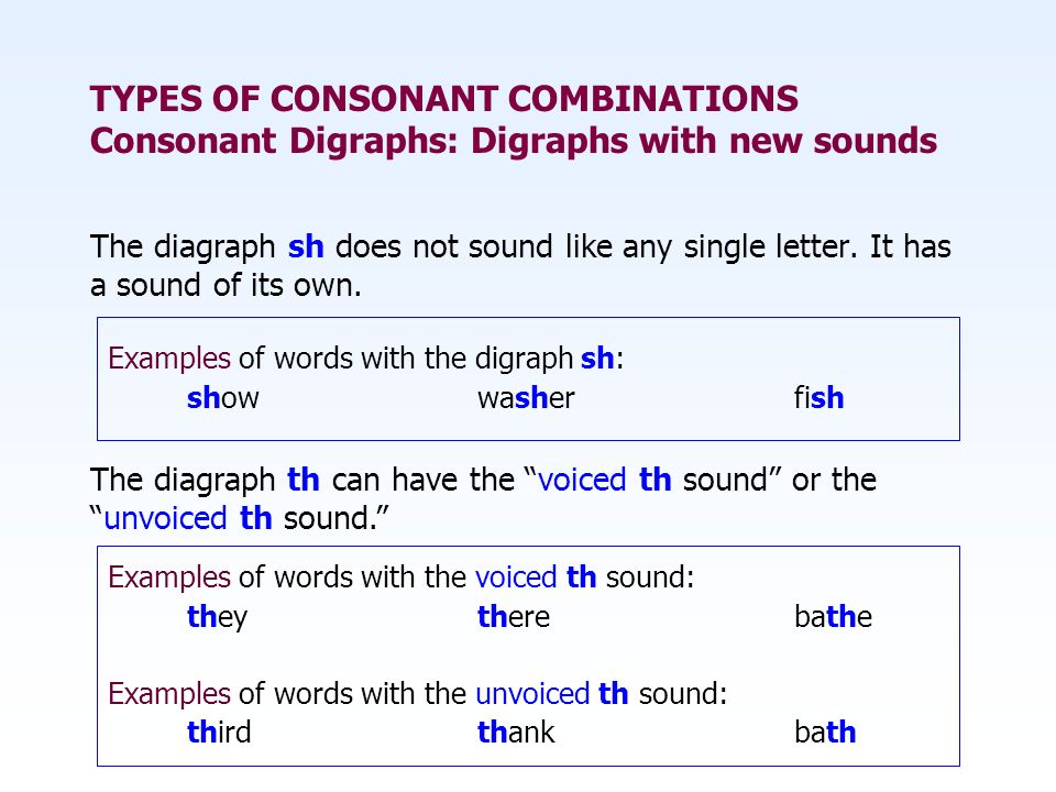 TYPES OF CONSONANT COMBINATIONS Consonant Digraphs: Digraphs with new sounds