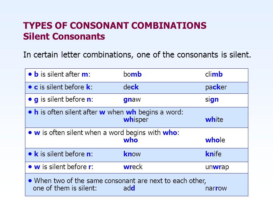 TYPES OF CONSONANT COMBINATIONS Silent Consonants