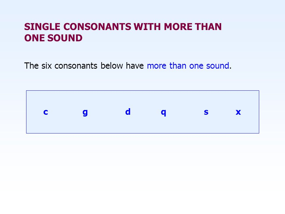 SINGLE CONSONANTS WITH MORE THAN ONE SOUND
