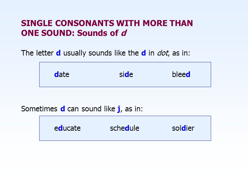 SINGLE CONSONANTS WITH MORE THAN ONE SOUND: Sounds of d