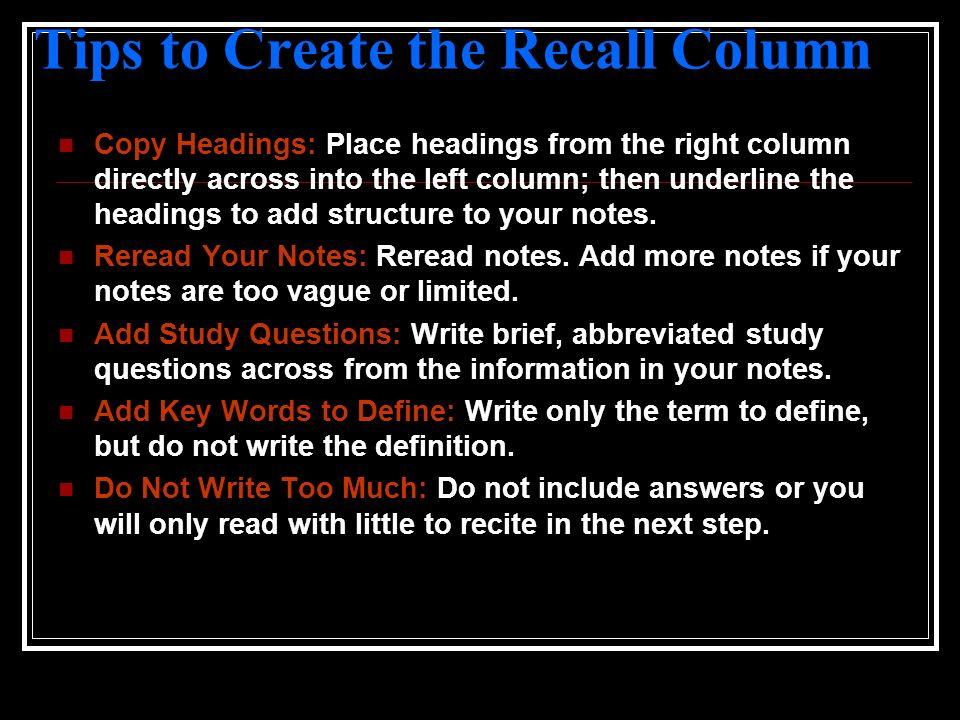 Tips to Create the Recall Column