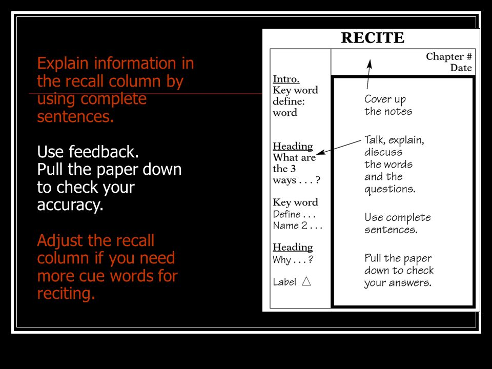 Explain information in the recall column by using complete sentences