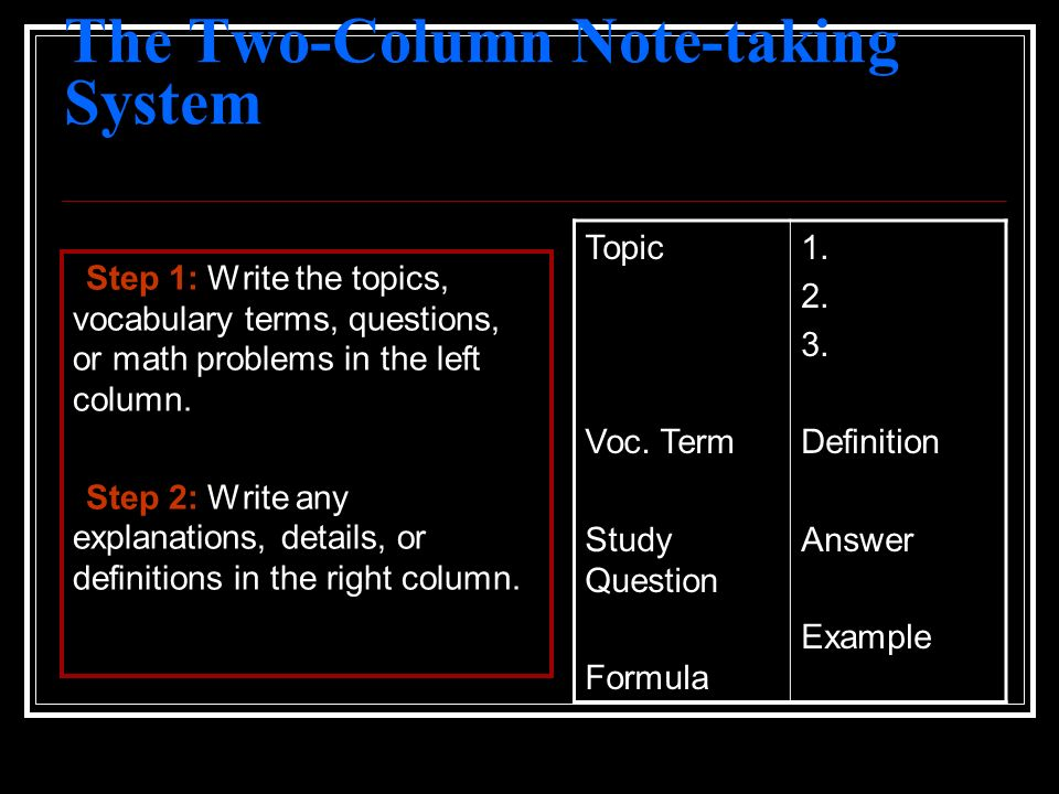 The Two-Column Note-taking System