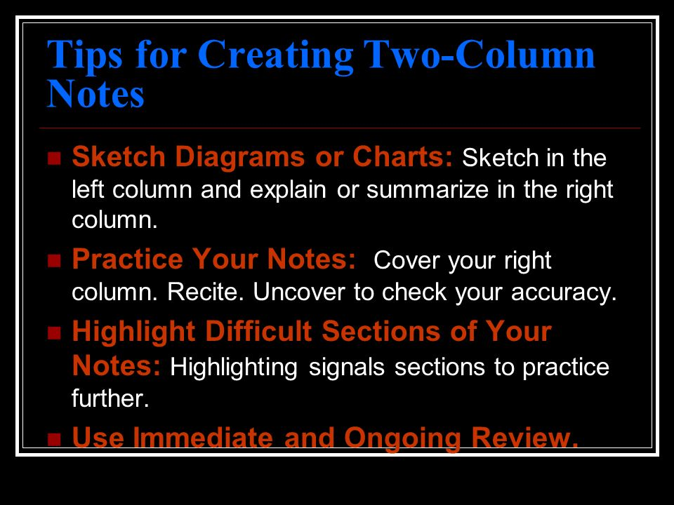 Tips for Creating Two-Column Notes
