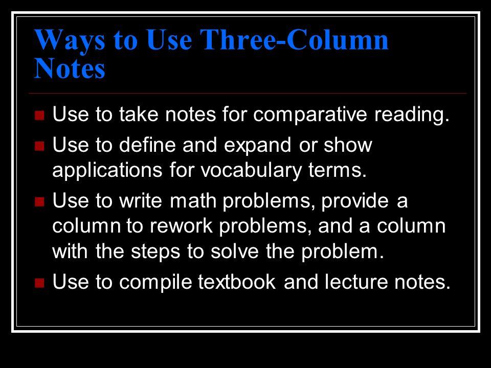 Ways to Use Three-Column Notes