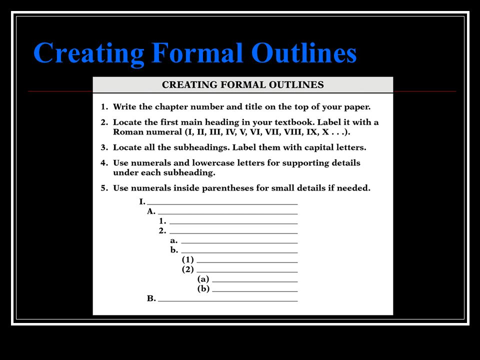 Creating Formal Outlines