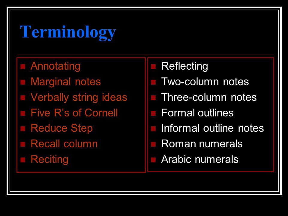 Terminology Annotating Marginal notes Verbally string ideas