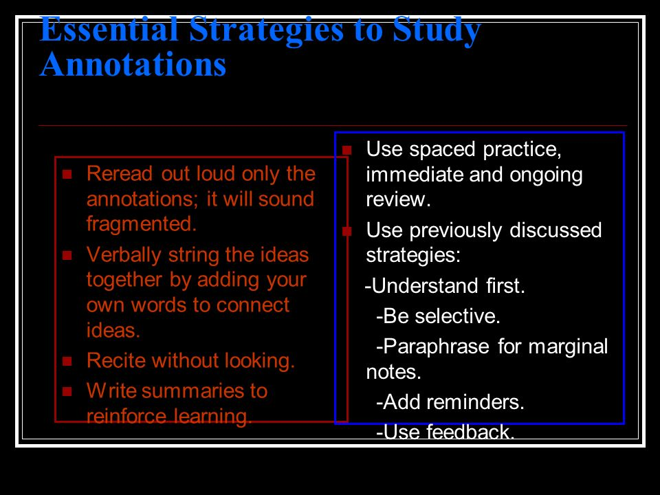 Essential Strategies to Study Annotations