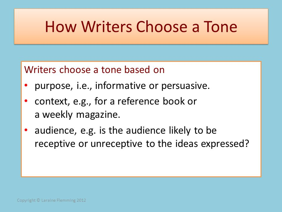 How Writers Choose a Tone