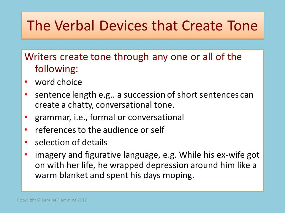 The Verbal Devices that Create Tone