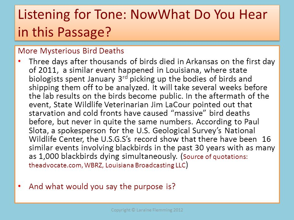 Listening for Tone: NowWhat Do You Hear in this Passage