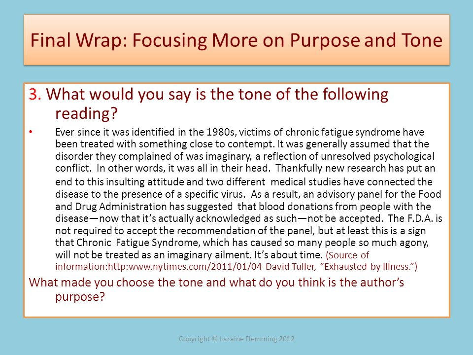 Final Wrap: Focusing More on Purpose and Tone
