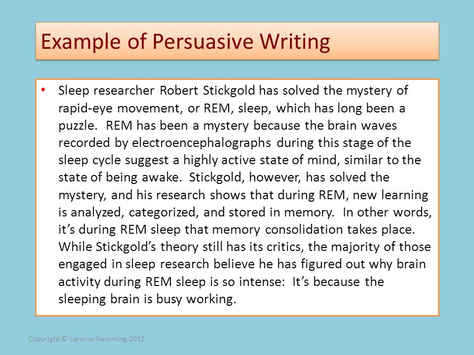 Example of Persuasive Writing