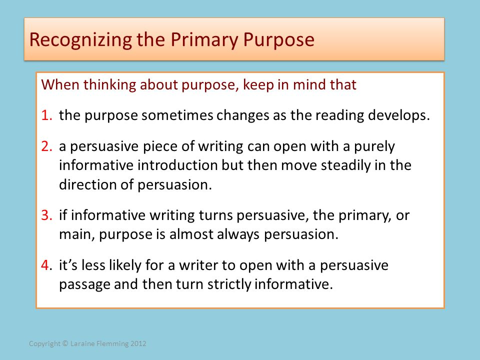 Recognizing the Primary Purpose