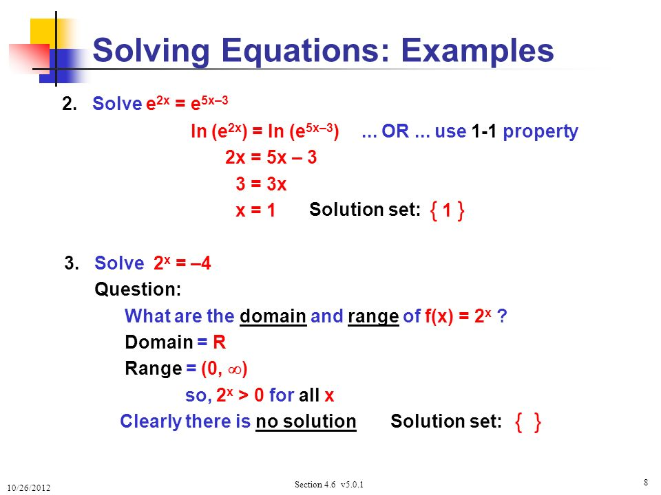 Exponential and logarithmic equations ppt video online download solving equations examples ccuart Image collections
