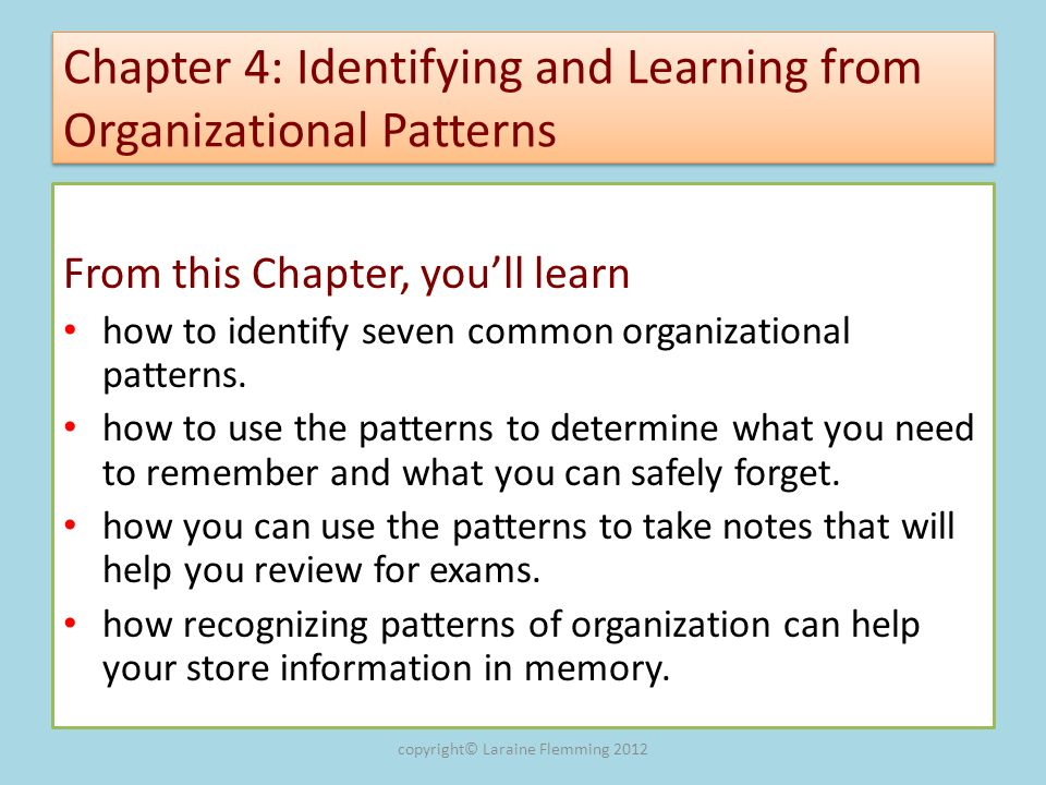 Chapter 4: Identifying and Learning from Organizational Patterns