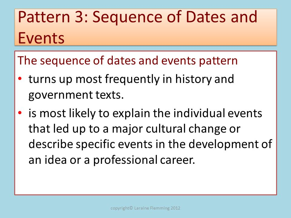 Pattern 3: Sequence of Dates and Events