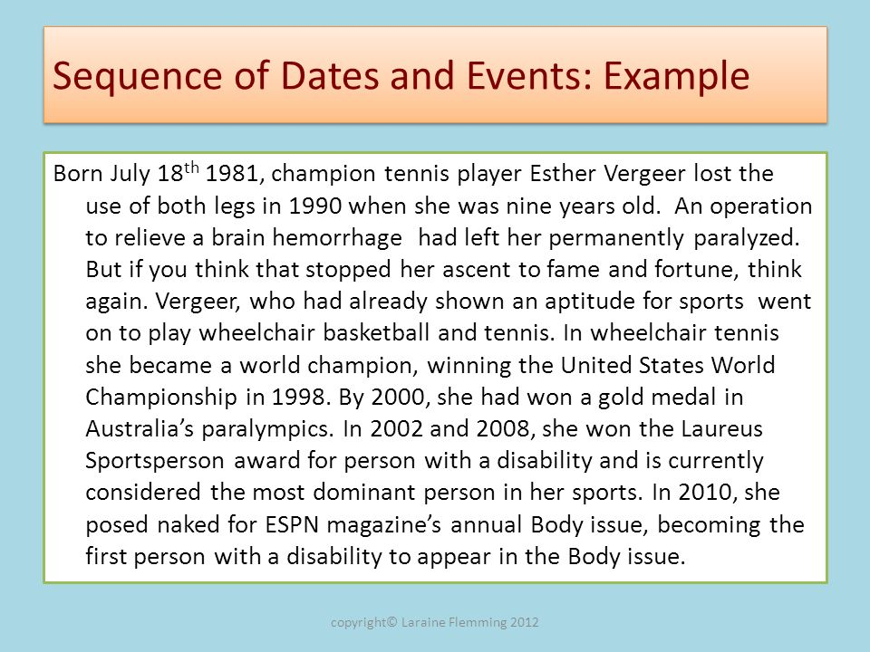 Sequence of Dates and Events: Example
