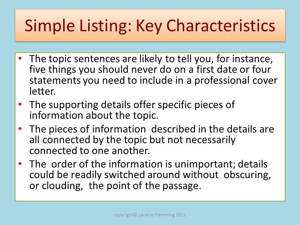 Simple Listing: Key Characteristics