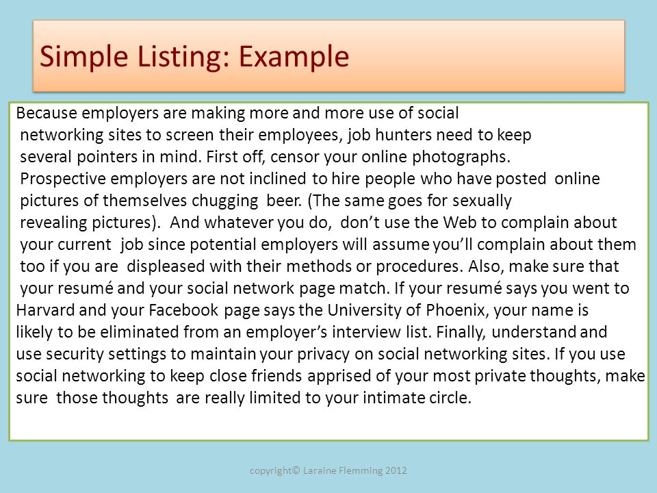 Simple Listing: Example