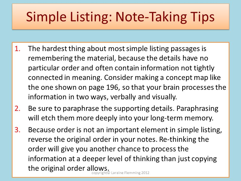 Simple Listing: Note-Taking Tips