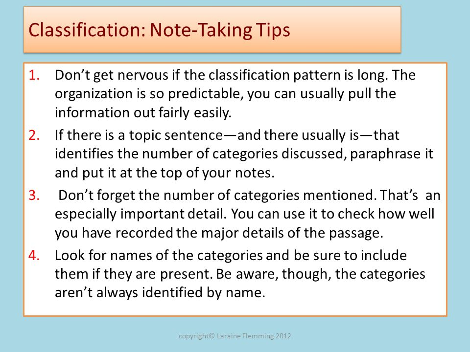 Classification: Note-Taking Tips