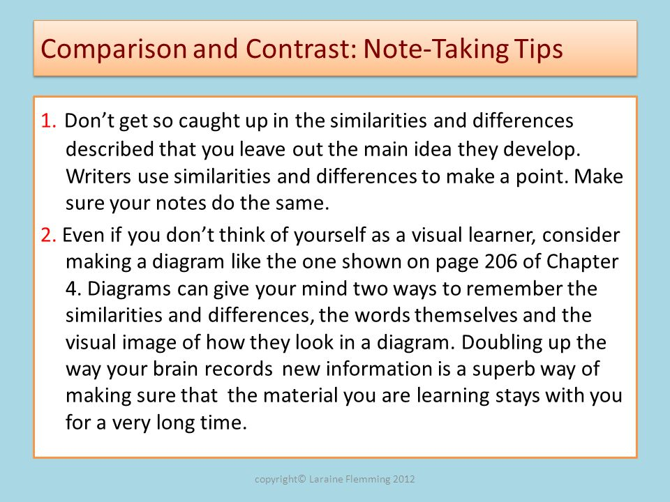 Comparison and Contrast: Note-Taking Tips