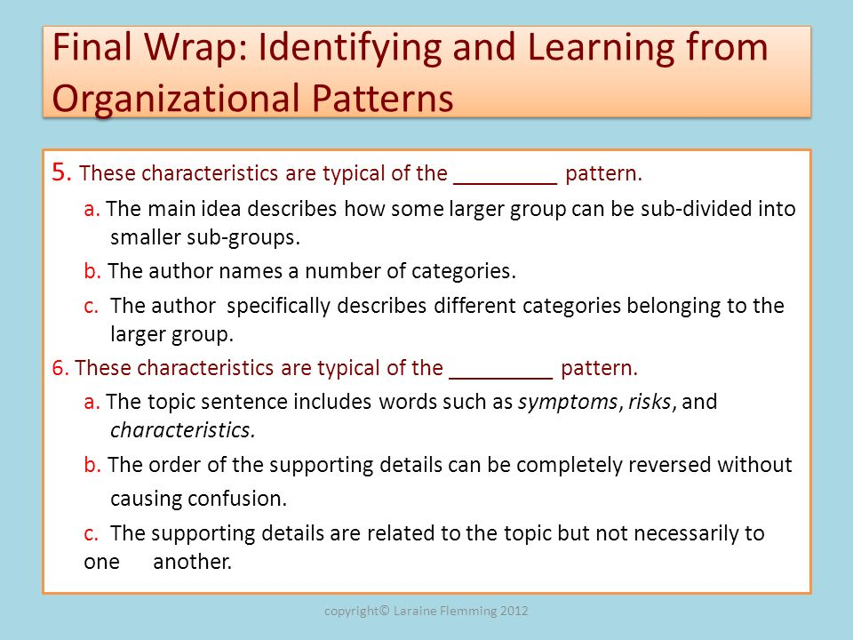 Final Wrap: Identifying and Learning from Organizational Patterns