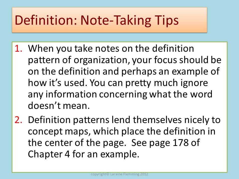 Definition: Note-Taking Tips