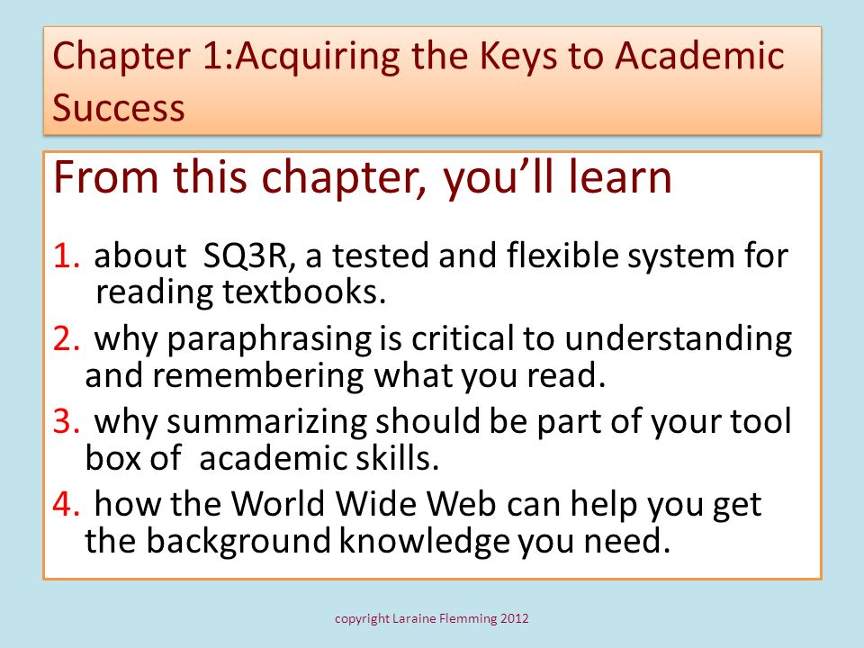 Chapter 1:Acquiring the Keys to Academic Success