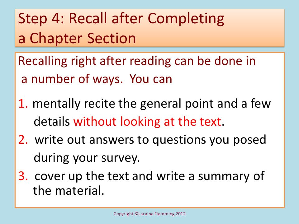 Step 4: Recall after Completing a Chapter Section