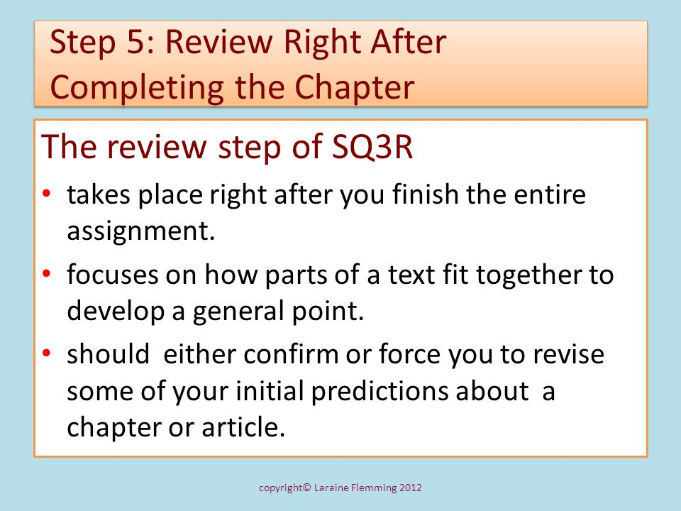 Step 5: Review Right After Completing the Chapter