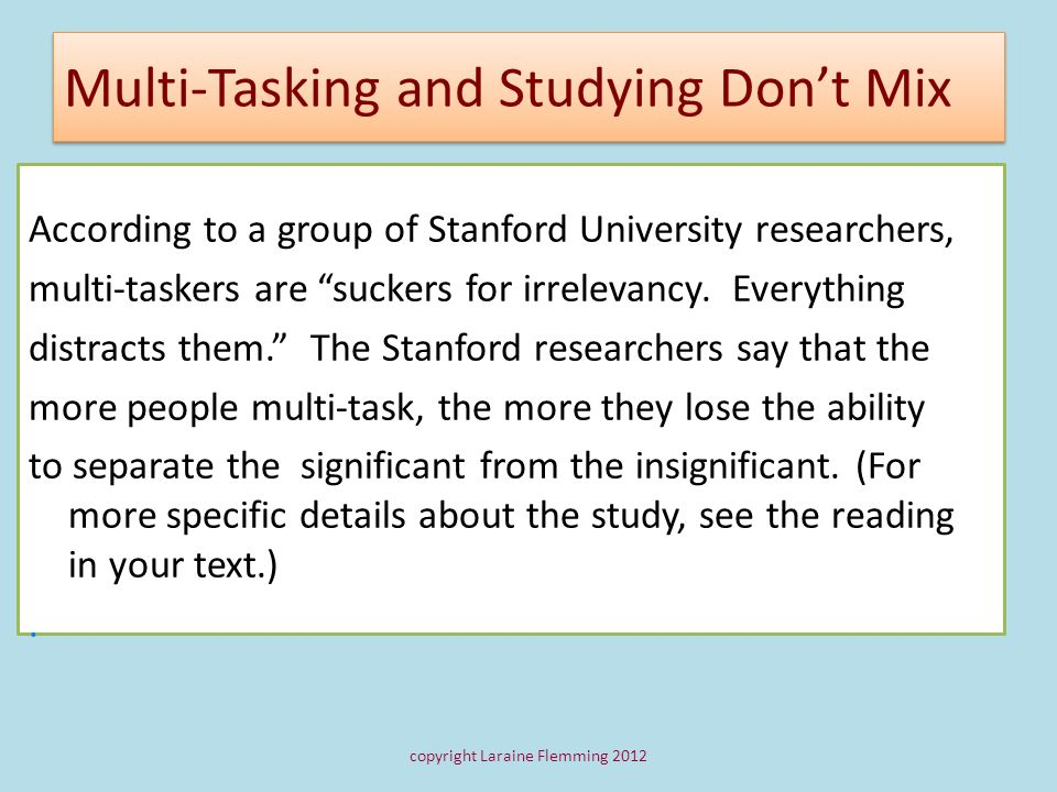 Multi-Tasking and Studying Don't Mix