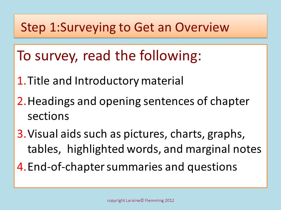 Step 1:Surveying to Get an Overview