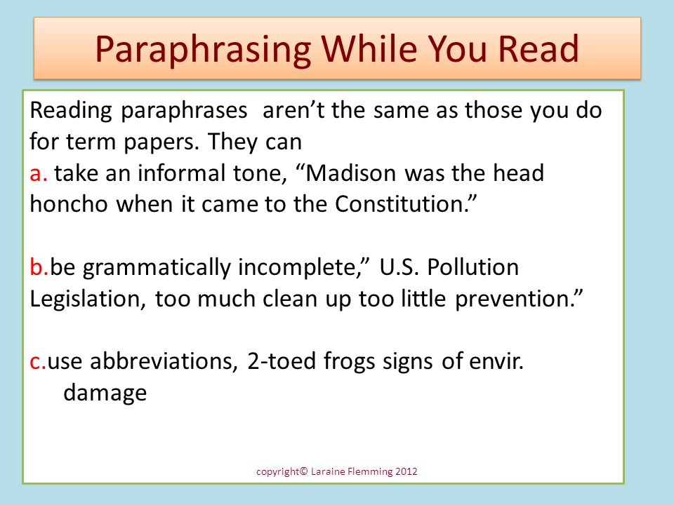 Paraphrasing While You Read