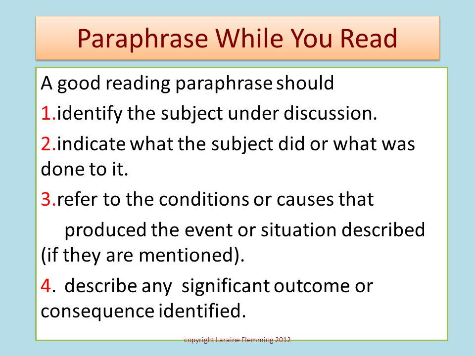 Paraphrase While You Read