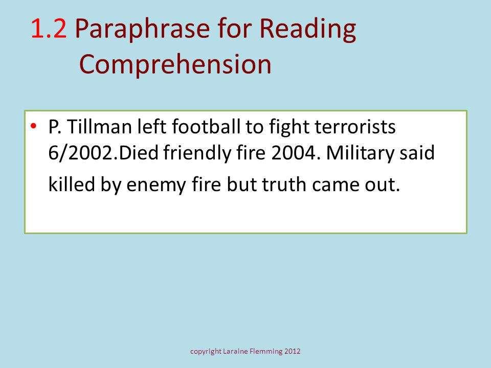 1.2 Paraphrase for Reading Comprehension