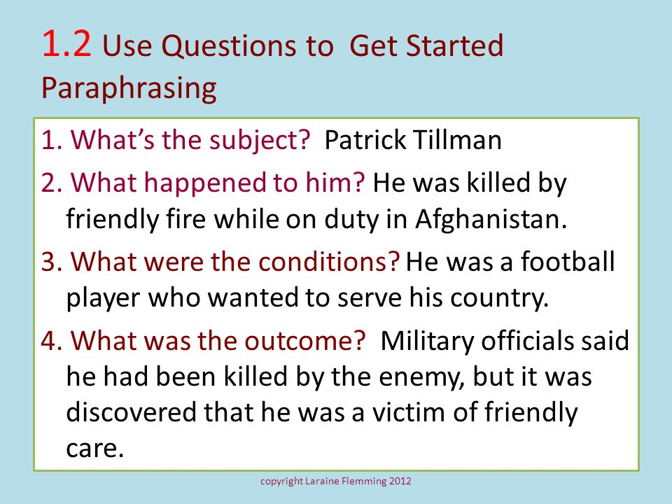 1.2 Use Questions to Get Started Paraphrasing