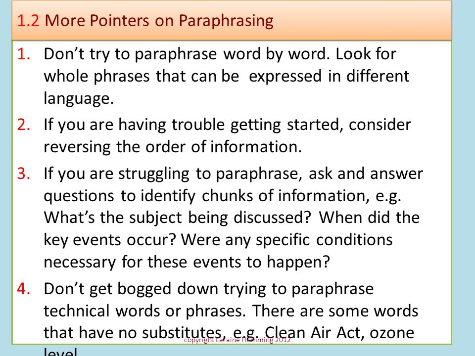 1.2 More Pointers on Paraphrasing