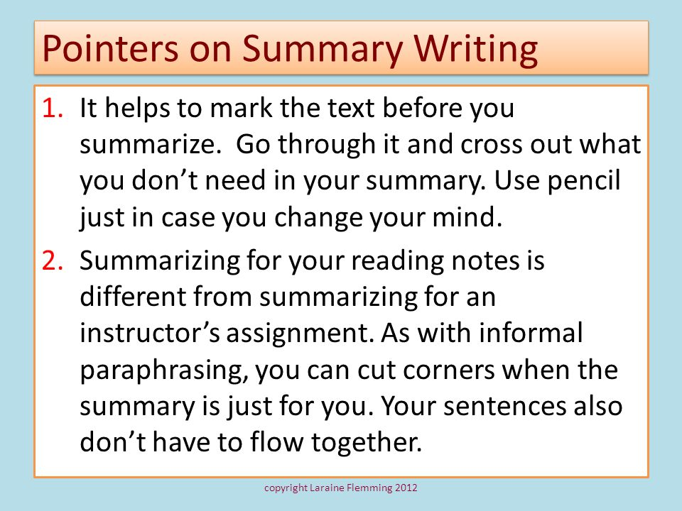 Pointers on Summary Writing
