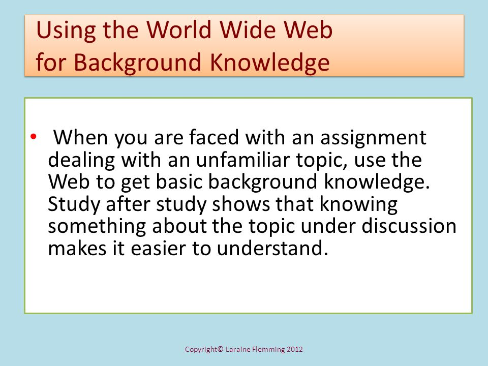 Using the World Wide Web for Background Knowledge