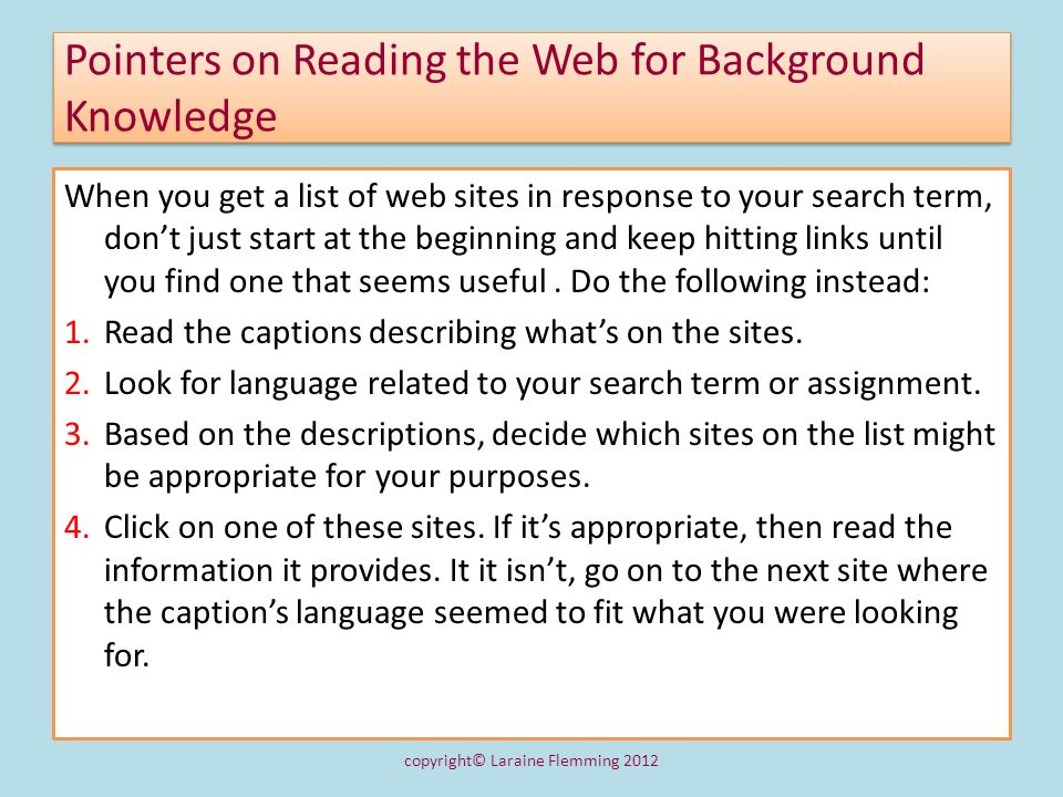 Pointers on Reading the Web for Background Knowledge