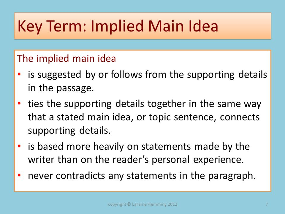 Key Term: Implied Main Idea