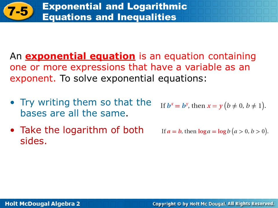how to get a exponential equation