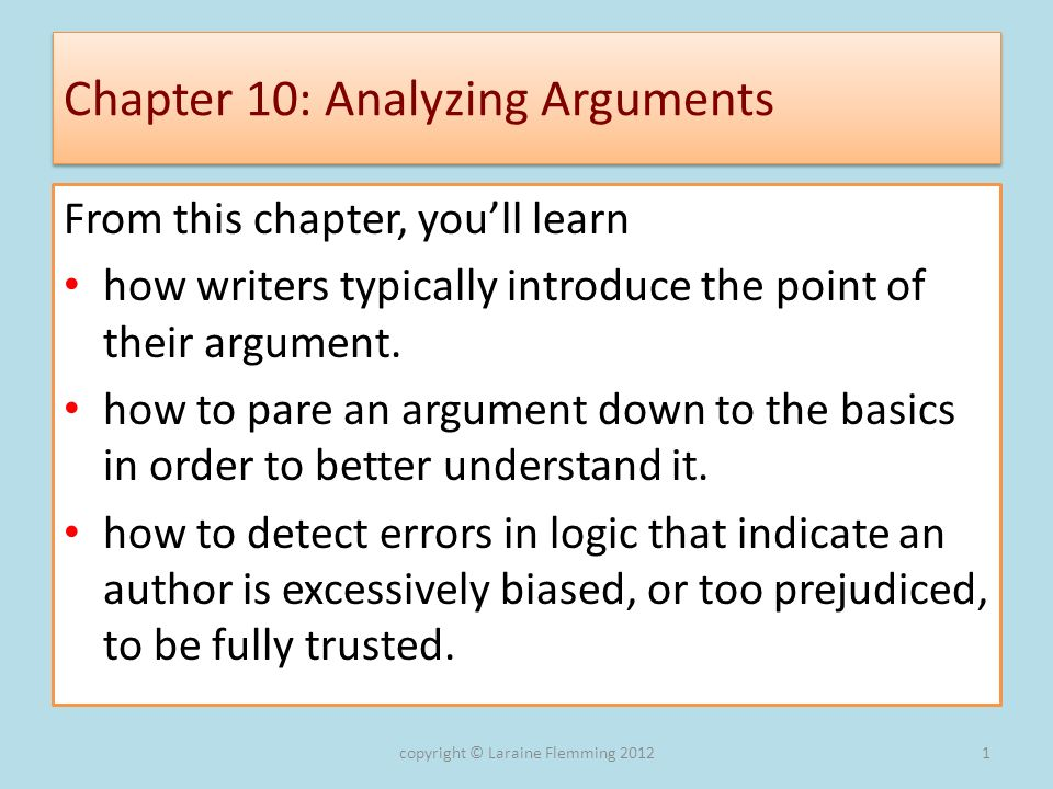 Chapter 10: Analyzing Arguments