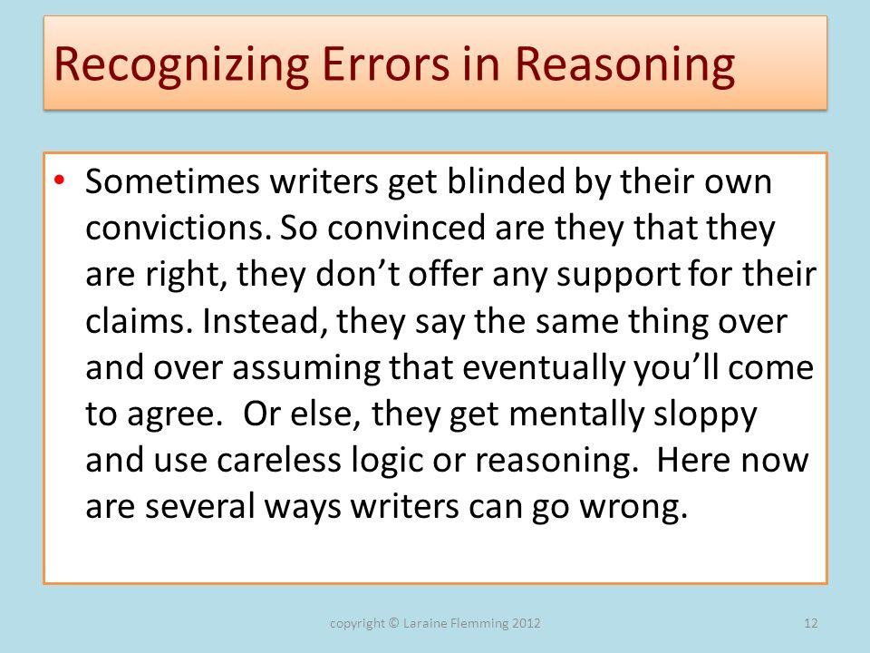 Recognizing Errors in Reasoning